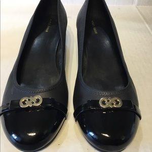 Cole Haan black cap toe wedges sz 11 M
